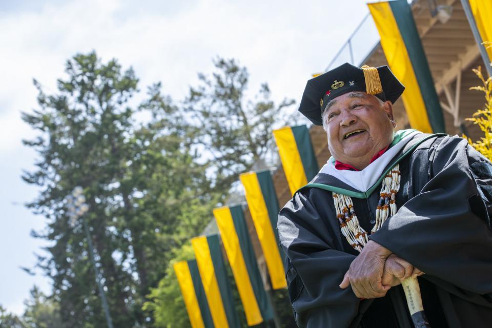 professor in graduation attire
