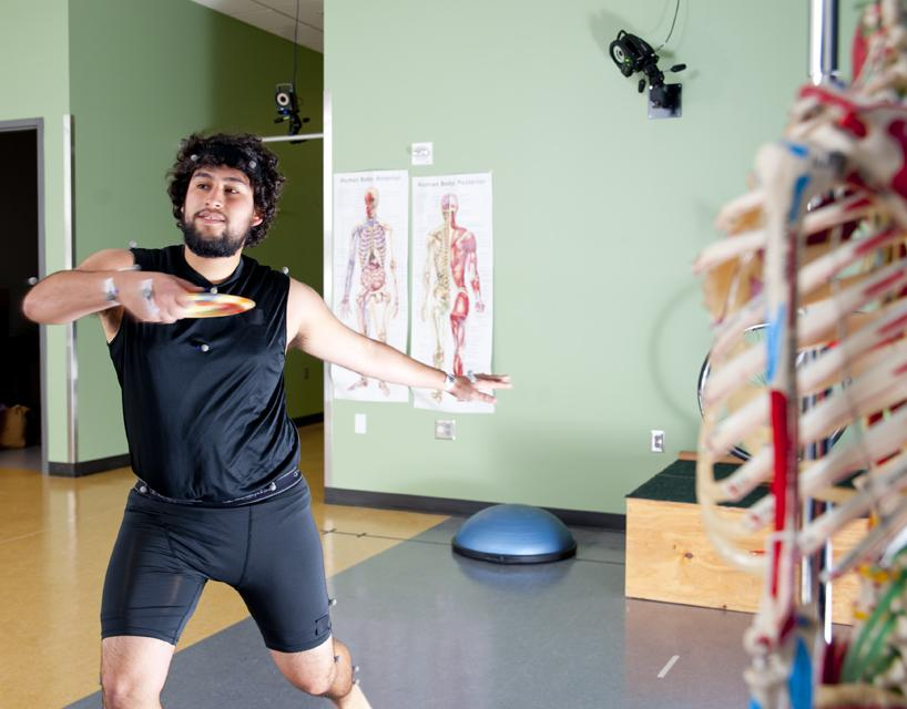 kinesiology lab participant wearing sensors
