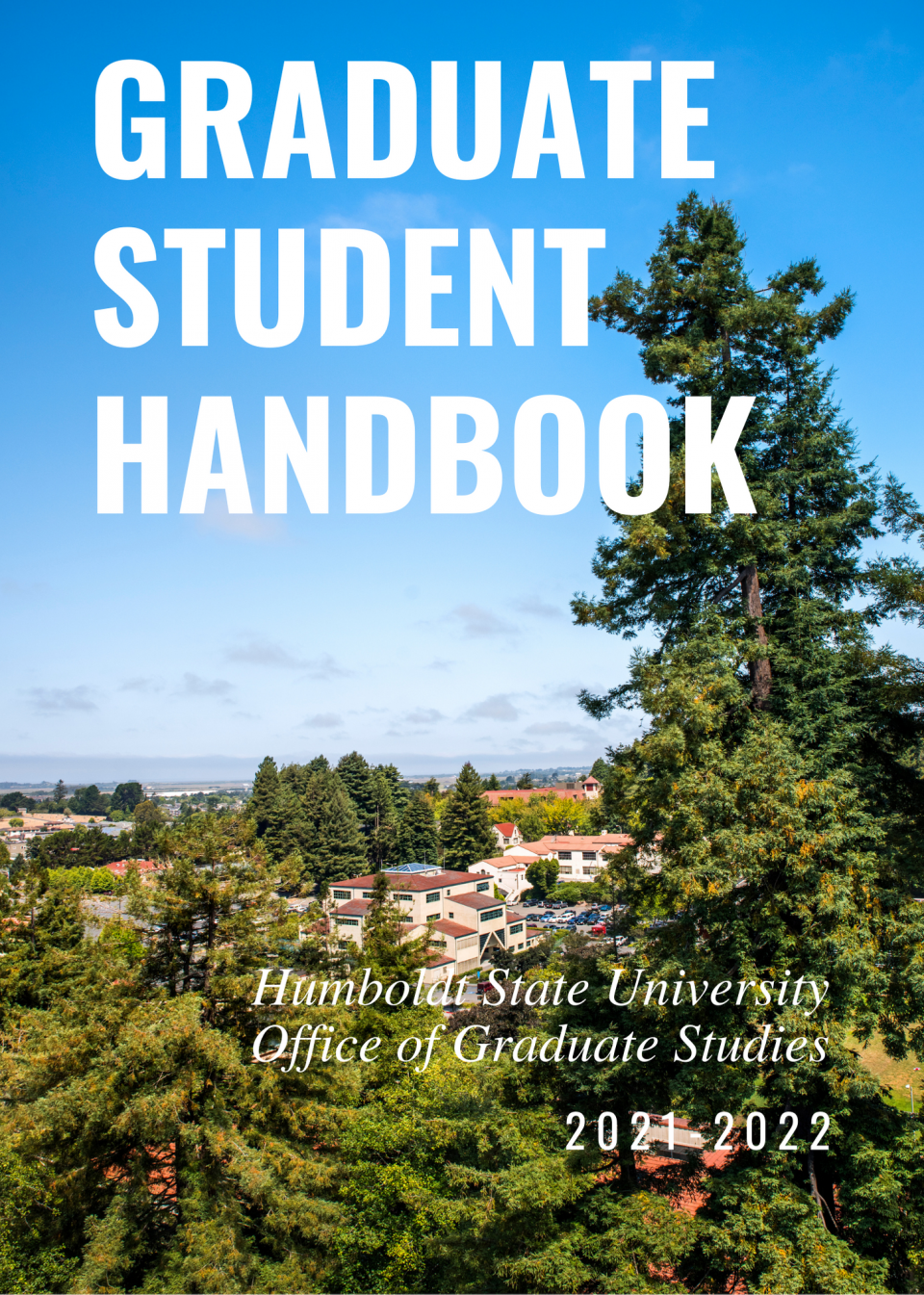 """an ariel view of campus with the words """"Graduate Student Handbook"""" in big, white letters"""